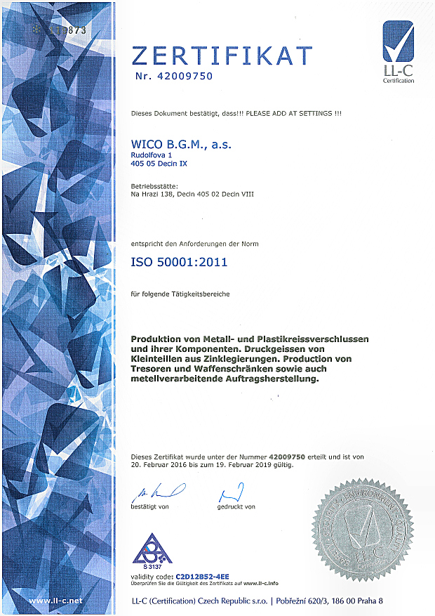 Certificates of zip fasteners | WICO B.G.M., a.s.,